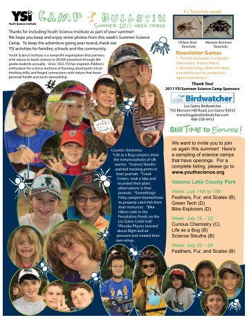 Camp Bulletin, Week 3 - Youth Science Institute