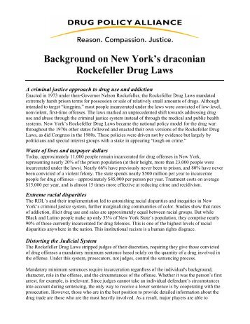 Background on New York's draconian Rockefeller Drug Laws