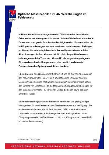 Optische Messtechnik für LAN Verkabelungen - Psiber Data GmbH ...