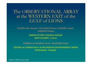 Observational array at the western exit of the Gulf of Lions