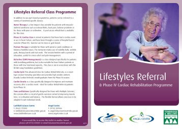 Lifestyles Referral Class Programme - Angel Centre