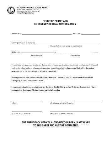 Student Field Trip Medical Authorization Form  Mill Valley School