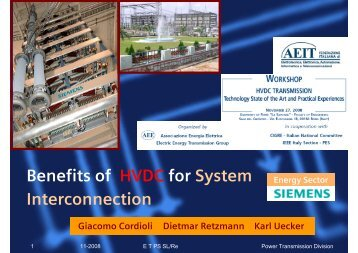 Benefits of HVDC for System Interconnection - Presentation - Siemens
