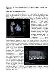 BAYREUTH/Festspiele: DER FLIEGENDE HOLLÄNDER - Premiere ...