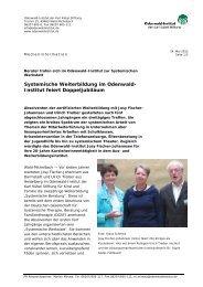 Systemische Weiterbildung im Odenwald- Institut feiert ...