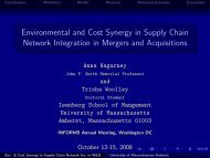 Environmental and Cost Synergy in Supply Chain Network ...