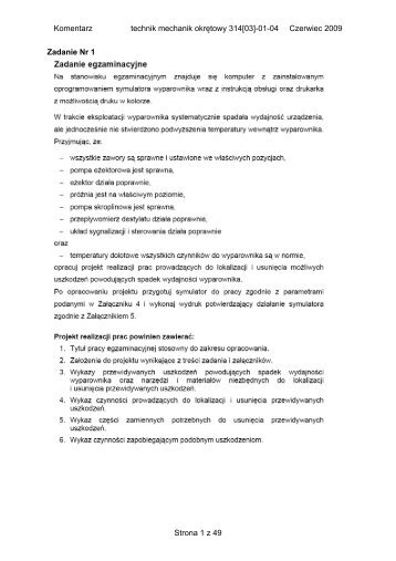 Komentarz technik mechanik okrętowy 314[03]-01-04 Czerwiec ...