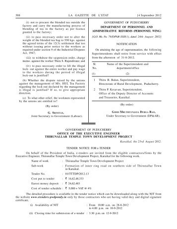 Tender - Government of Puducherry