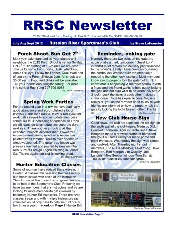 July,Aug.,Sept. 2012 News letter - Russian river sportsmens club