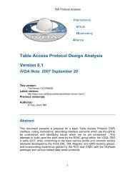 Table Access Protocol Design Analysis Version 0.1 IVOA Note 2007 ...