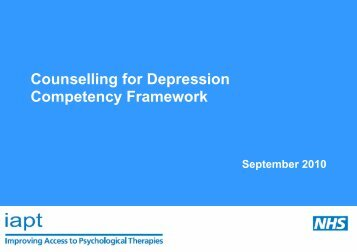 Counselling for Depression Competency Framework - IT Shared ...