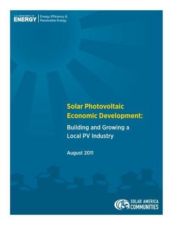 Solar Photovoltaic Economic Development - EERE - U.S. ...