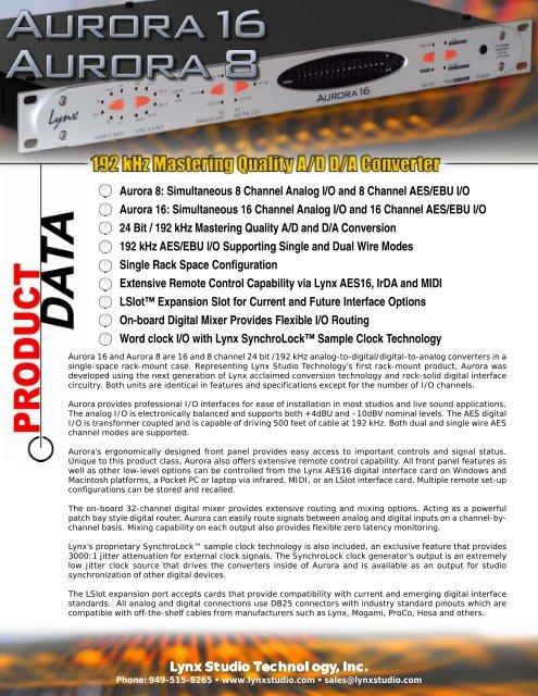 Aurora 8: Simultaneous 8 Channel Analog I/O and 8