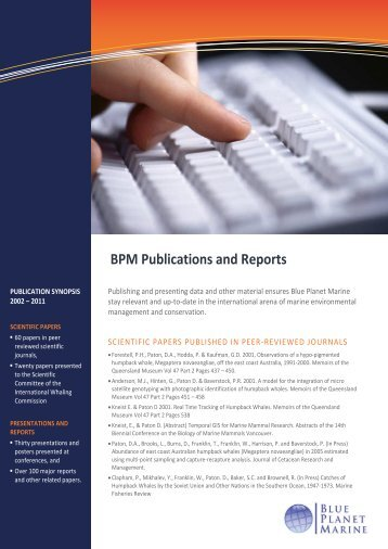 BPM Publications and Reports - Blue Planet Marine