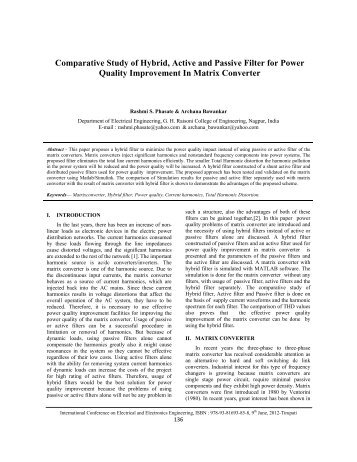 Comparative Study of Hybrid, Active and Passive ... - IRNet Explore