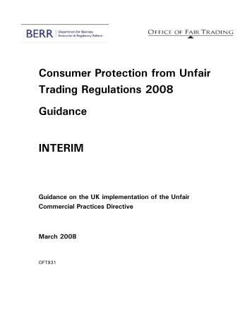 Consumer Protection from Unfair Trading ... - Businessballs