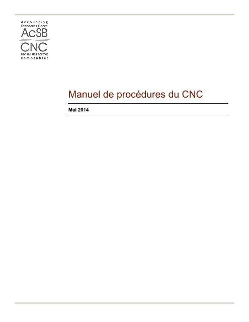 Procédure officielle du CNC - Normes d'information financière et de ...