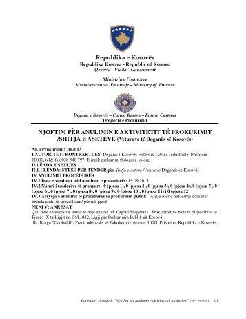 Republika e Kosovës NJOFTIM PËR ANULIMIN E AKTIVITETIT TË ...