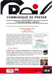 1res Rencontres Politique - Littérature (360 Ko) - Ville de Creil