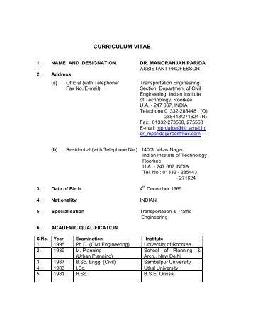 Curriculum Vitae Of Dr V K Jain Iitk Ac In Indian Institute