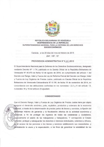 Providencia Administrativa Nº 38-2015 - Adecuación de Precios Justos - Carne