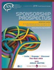 2013 Sponsorship Prospectus - American Neurological Association