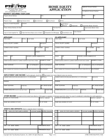 HOME EQUITY APPLICATION – OTHER INCOME You Need Not List