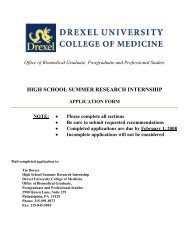 high school summer research internship - Drexel University College ...