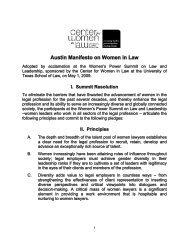 Austin Manifesto on Women in Law