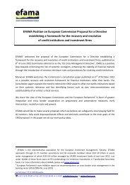 EFAMA Position Paper on Crisis Management Directive