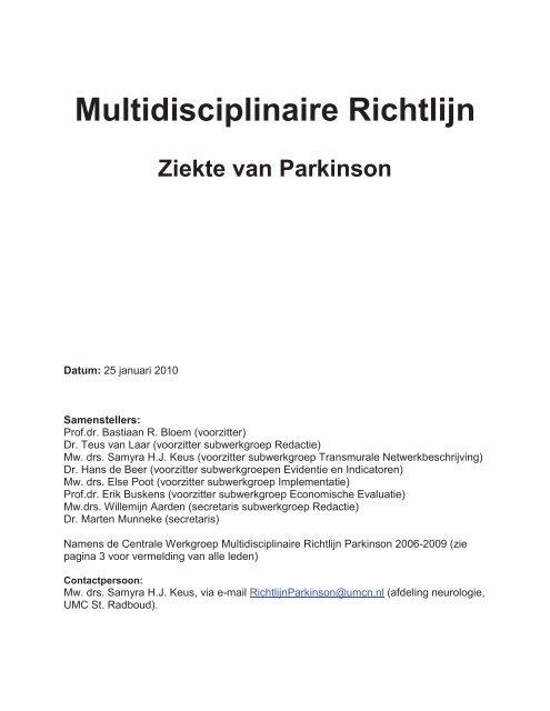 Inleiding richtlijn de ziekte van Parkinson - Kwaliteitskoepel