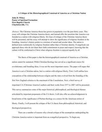 A Critique of the Historiographical Construal of America as a ...