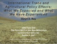 Louisiana State University, October 4, 2001 - Agricultural Policy ...