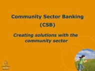 Community Sector Banking - National Housing Conference