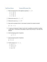 Algebra 1 Placement Test with Answers