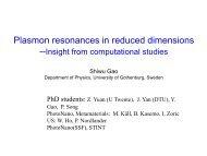Plasmon resonances in reduced dimensions - NSC