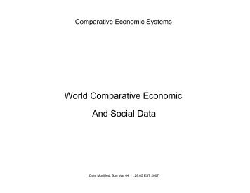 World Comparative Economic And Social Data