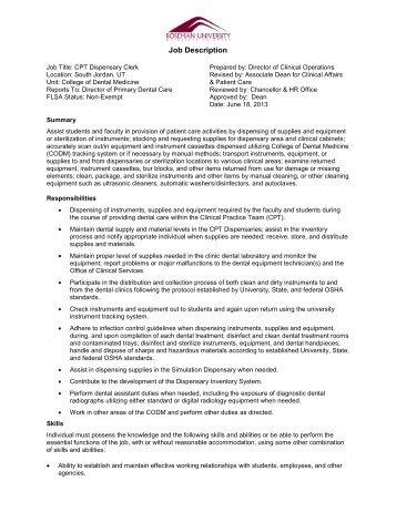 Job Description, Administrative Assistant