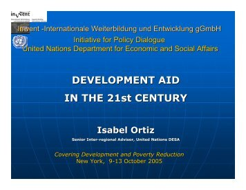 DEVELOPMENT AID IN THE 21st CENTURY - Initiative for Policy ...
