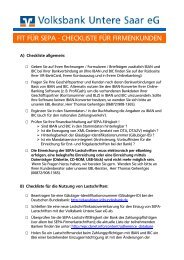 fit für sepa - checkliste für firmenkunden - Volksbank Untere Saar eG