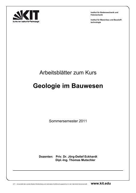 Geologie Im Bauwesen Ibf