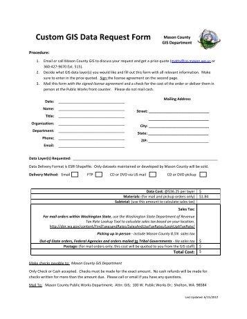 Custom GIS Data Request Form Mason County