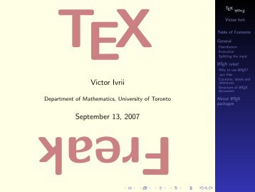 TeX Freak. Part I - Victor Ivrii - University of Toronto