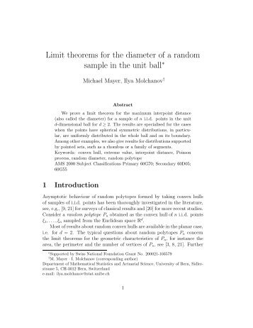 Limit theorems for the diameter of a random sample in the unit ball∗