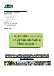 « Réhabilitation agro- environnementale à Madagascar »