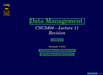 Data Management - University of Southern Queensland