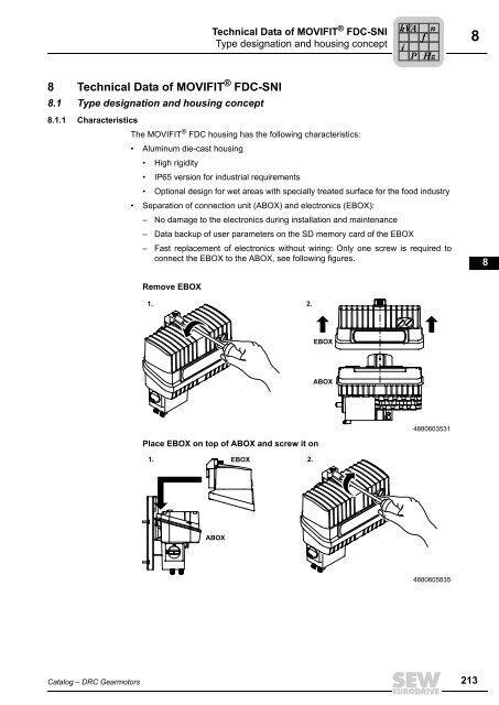 8 Technical Data of MOVIFIT FDC-SNI - SEW-Eurodrive