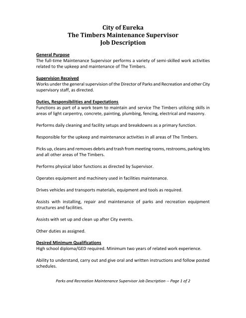 City of Eureka Job Description - The City of Eureka, Missouri