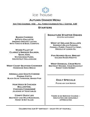autumn dinner menu starters ice house