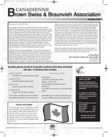 Décembre - Canadian Brown Swiss & Braunvieh Association